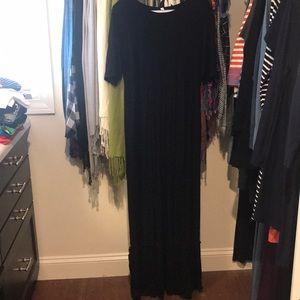 Women's black floor length dress